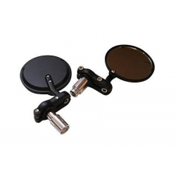 Pair of aluminium mirror for handlebar-end round black