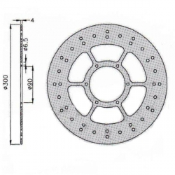 Front brake disk Ø300mm for Derbi Gpr / DRD / Aprilia Rs