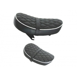 Selle Monkey Kepspeed Low diamond noire piping blanc