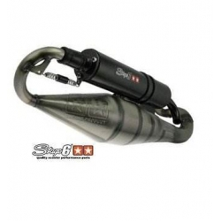 Exhaust Stage 6 Nitro, Aerox, Ovetto, Neos, Jog, Mach G, Aprilia SR - clear varnish, black silencer
