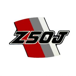 Adhesive - Sticker for side cover Honda Z50J red and grey - original