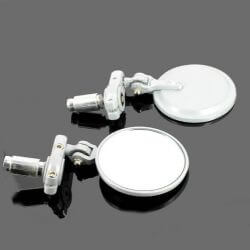 Grey round end of bar mirrors set - positionable