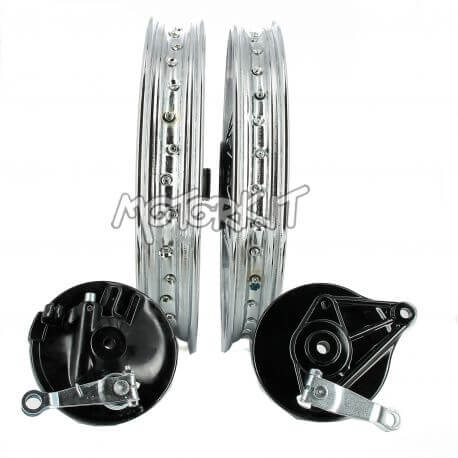 "Pair of straight chrome spoke wheels for Honda Cub 1.6 + 1.85 17 ""- 36 spokes"