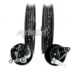 "Pair of black and chrome spoke wheels for Honda Cub 1.6 + 1.85 17 ""- 36 spokes"
