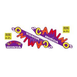 "Set stickers Honda Camino - Hobitt ""carnival"" on a purple background. Reproduction"