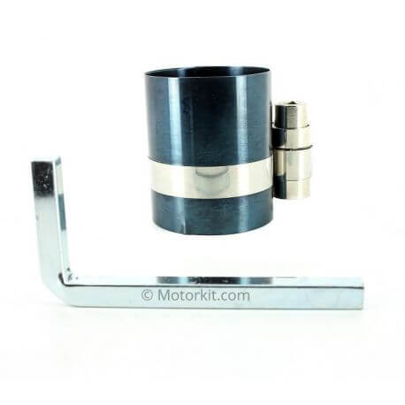 Piston ring compression tool for mounting in cylinder Ø 38 to 83mm