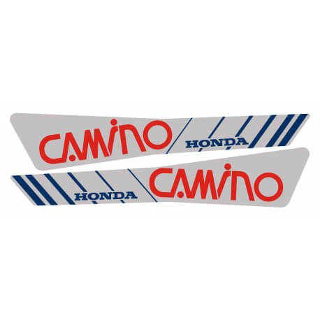 Set of tank stickers for Honda Hobbit Silver - Red-blue