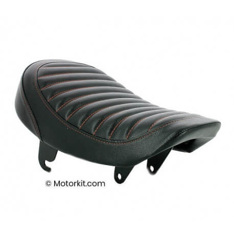 Monkey low roll seat - black with red stitching