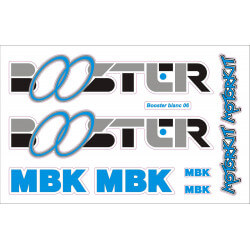 Sticker kit for MBK Booster Yamaha BW'S Phase 1 with the colors blue, silver and black